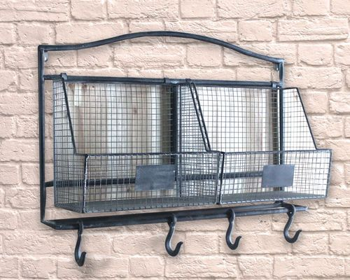 Industrial Iron Frame Cage & Meat Hook Coat Hook Rail